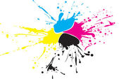 CMYK paint splat with drops