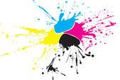 Fotografia CMYK chiazza di vernice con gocce