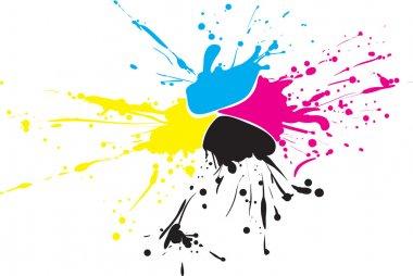 CMYK paint splat with drops