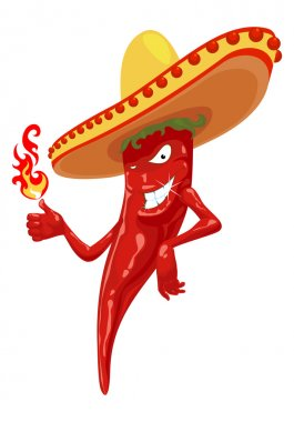Hot chili pepper with fire