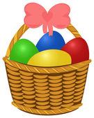 Fonott kosárban színes húsvéti tojás