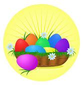 barevné velikonoční vejce na slunečné pozadí. Dovolená vektorová design