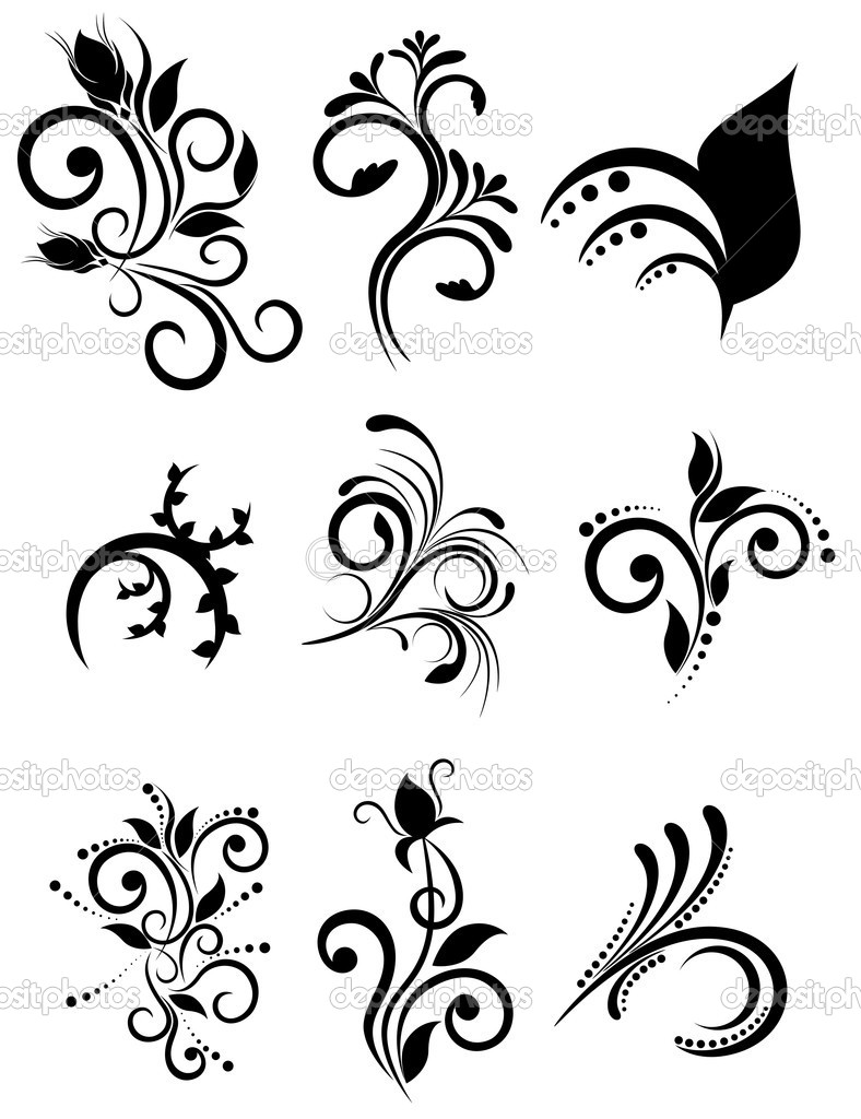 Vector floral element for design