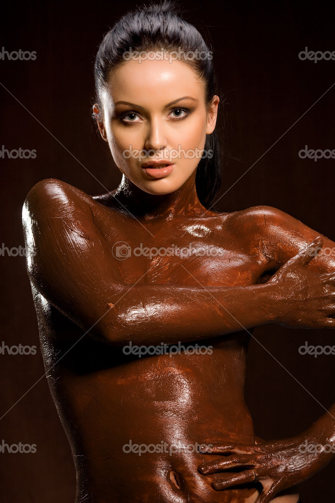 Sex photo sexy girls completely covered in chocolate