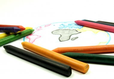 Drawing earth with chalks