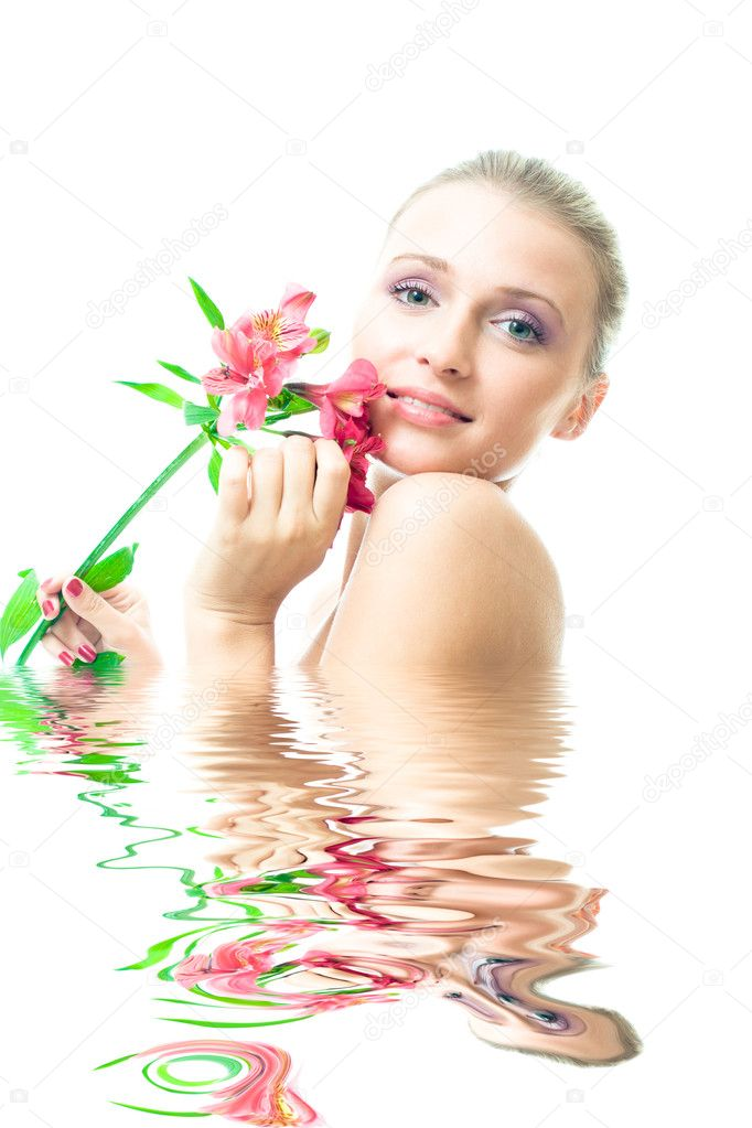 Beautiful Nacked Girl With Flowers Stock Image