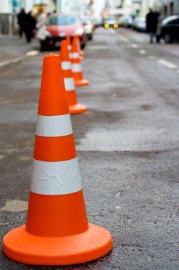 Orange safety cones