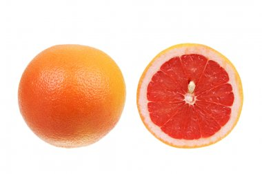 Red grapefruit isolated over white
