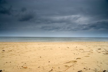 Empty beach and dramatic sky, Poland