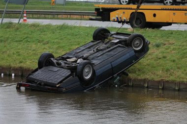 Car in water after an accident