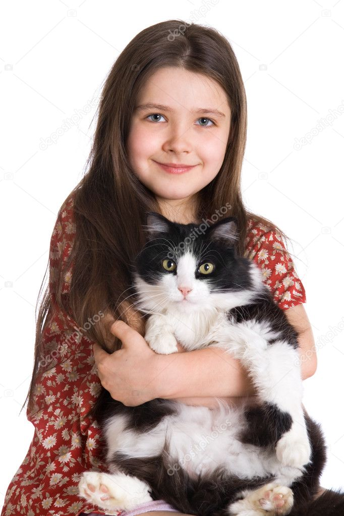 Little girl and fluffy cat