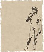 Fotografie die vektorskulptur david auf altem papier