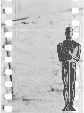 Vector statuette in old film background
