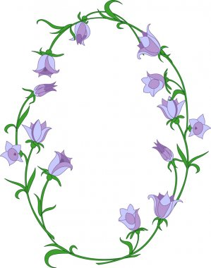 Bellflower ovals frame. Vector illustration. Fully editable, easy color change. stock vector