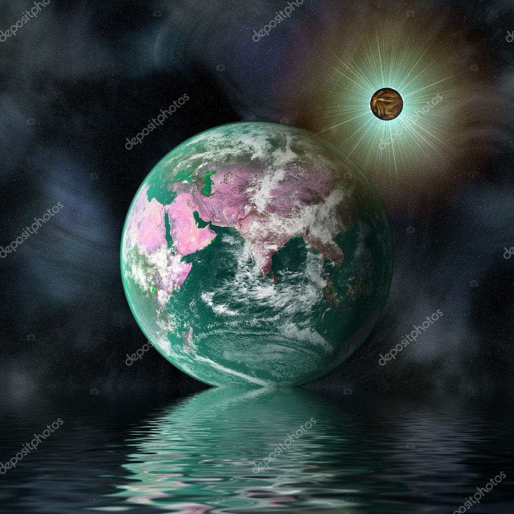Planet in space with reflection in water