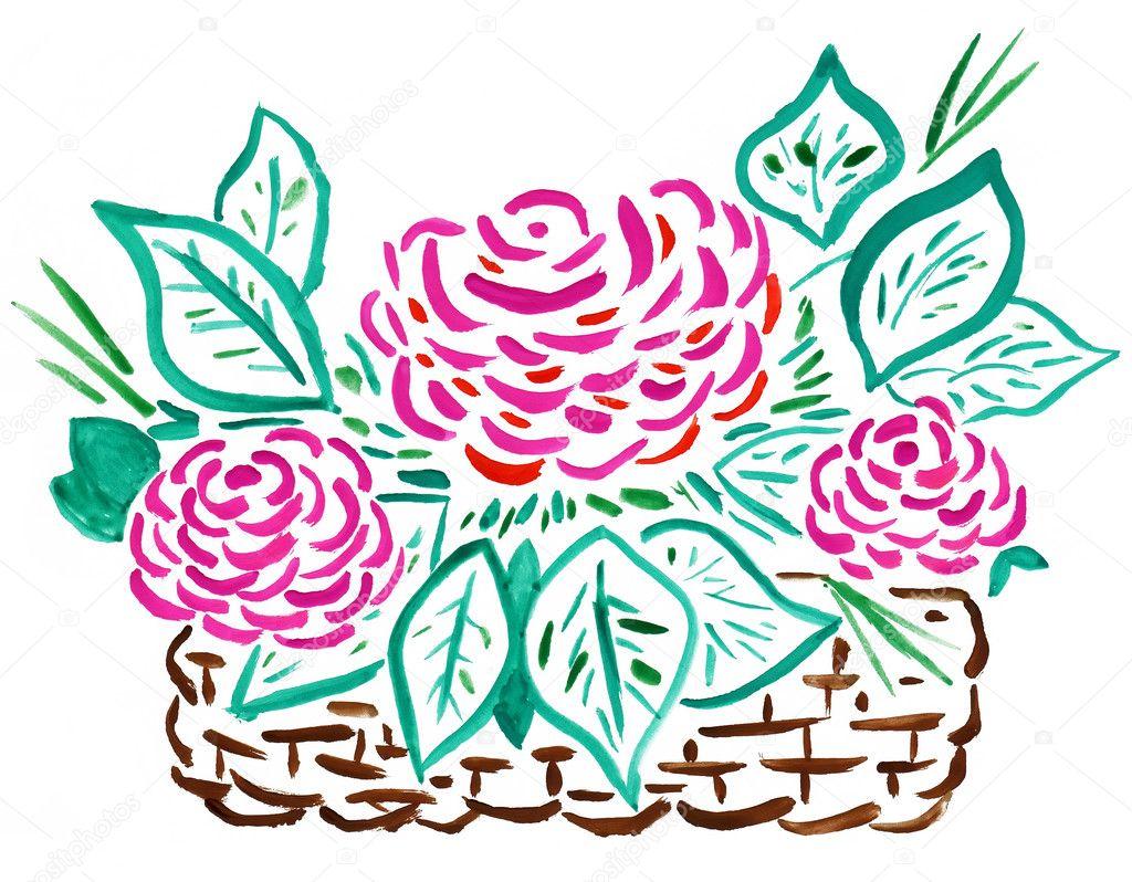 Rosas Rojas Para Dibujar Bonitas Cesta De Rosas Rojas Dibujo A