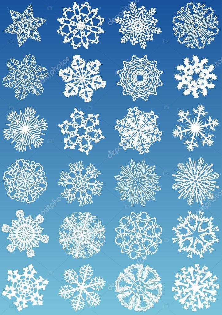 Beautiful crystal gradient snowflakes