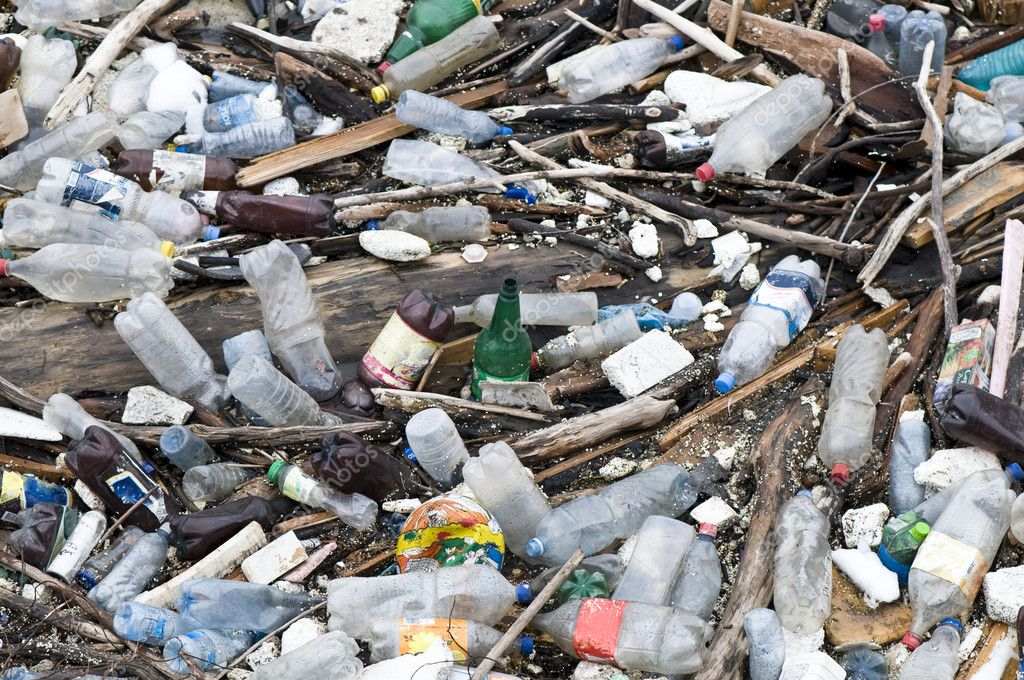 Garbage in river, pollution