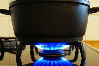 Gas under pot