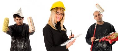 Businesswoman and two house painter