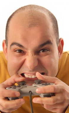 Guy playing video game