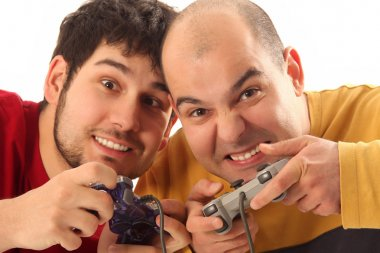 Two young men playing video game