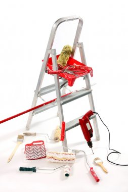 Paint roller, brushes, borer and ladder`