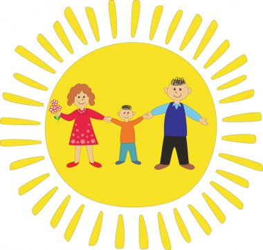 Happy family keeping for hands on sun background.Vector illustration clip art vector