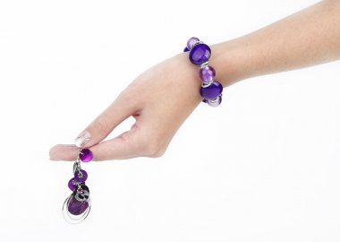 Purple bracelet and earring