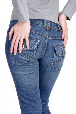 Woman in jeans from behind