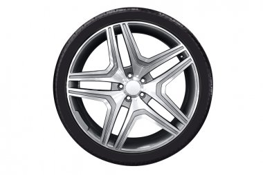 Car wheel with aluminum rim isolated stock vector