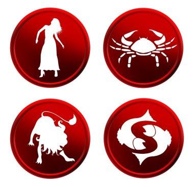 Red zodiac signs - set 1