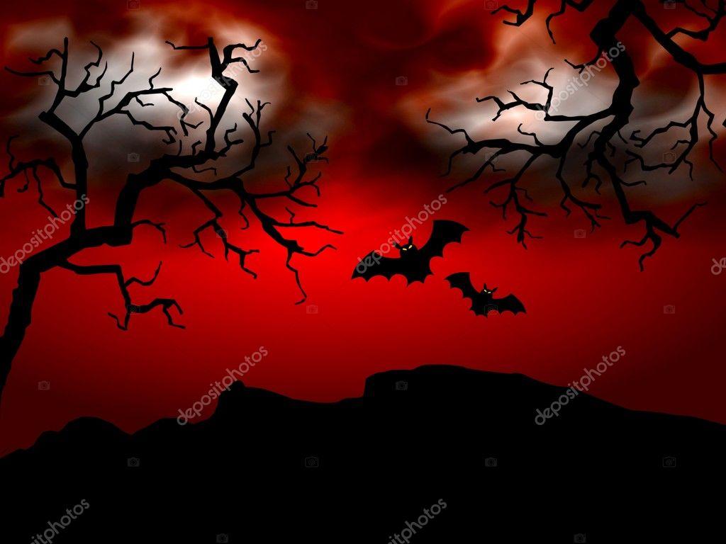 Halloween scene on red background — Stock Photo © pdesign #1750561