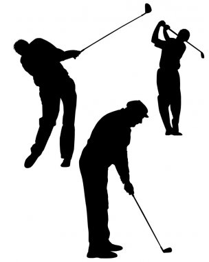 Silhouettes of golf player