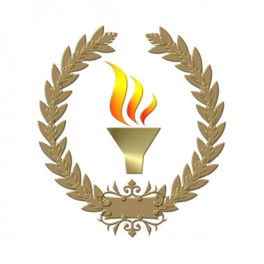 Laurel wreath with torch gold