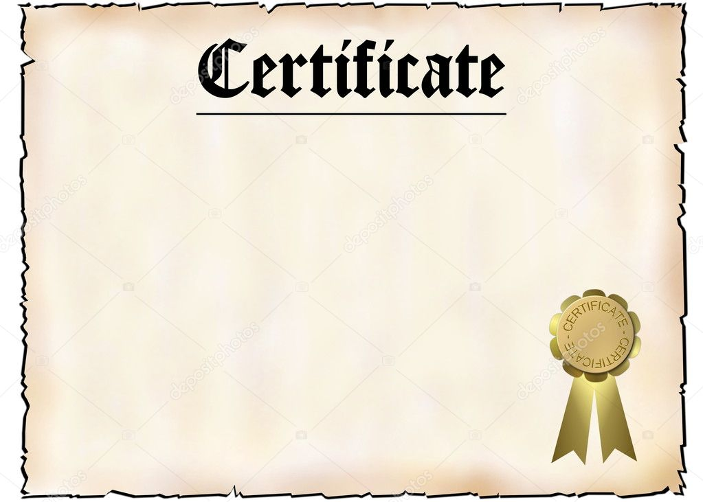 Blank Certificate  Stock Photo  Pdesign