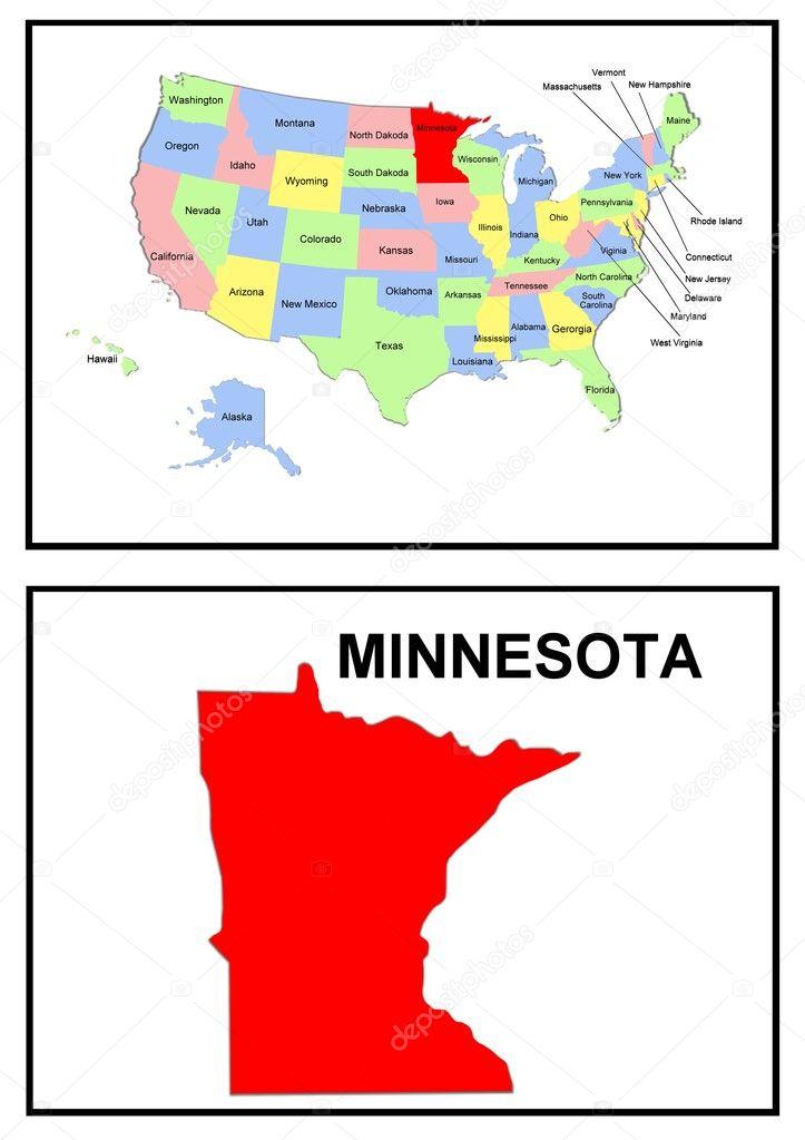 USA State Map Minnesota — Stock Photo © pdesign #1768635
