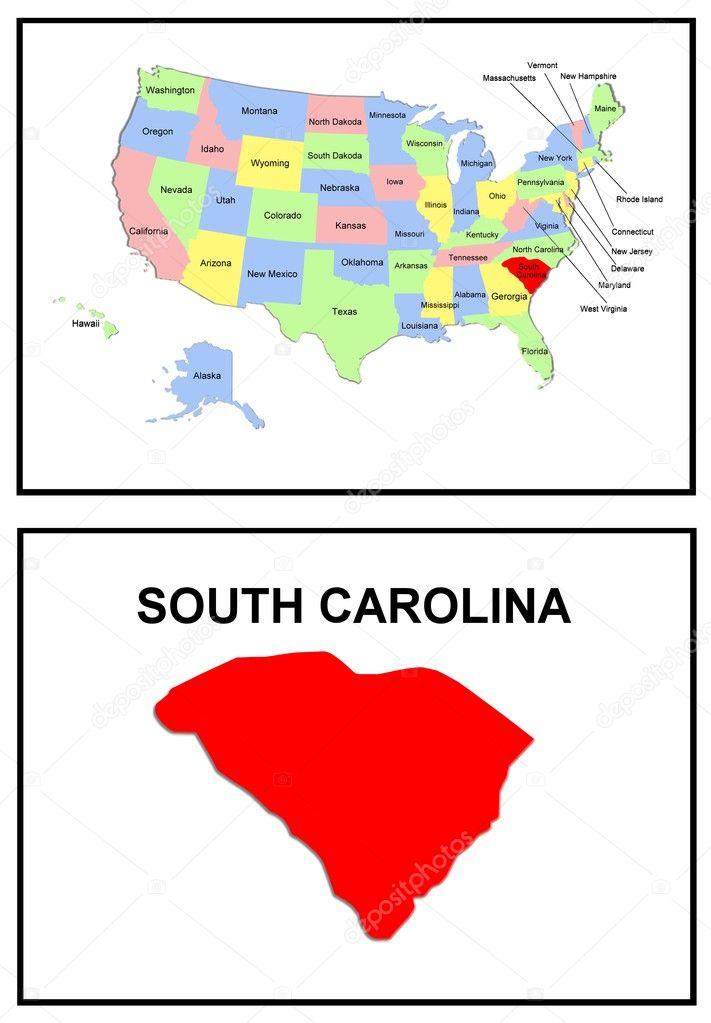 estado de los e.e.u.u. mapa de carolina del sur — Fotos de Stock ...
