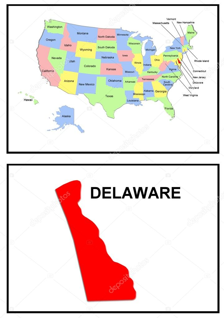 USA State Map Delaware Stock Photo Pdesign - Delaware on usa map