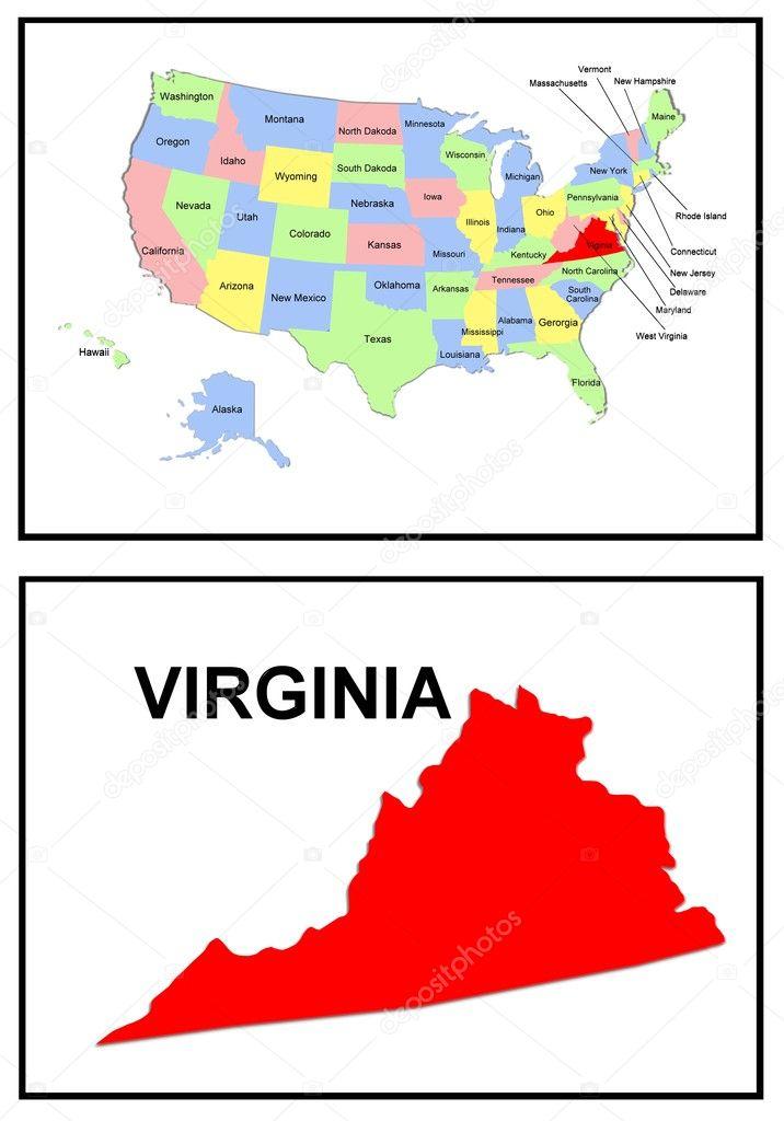 USA State Map Virginia Stock Photo pdesign 1768675