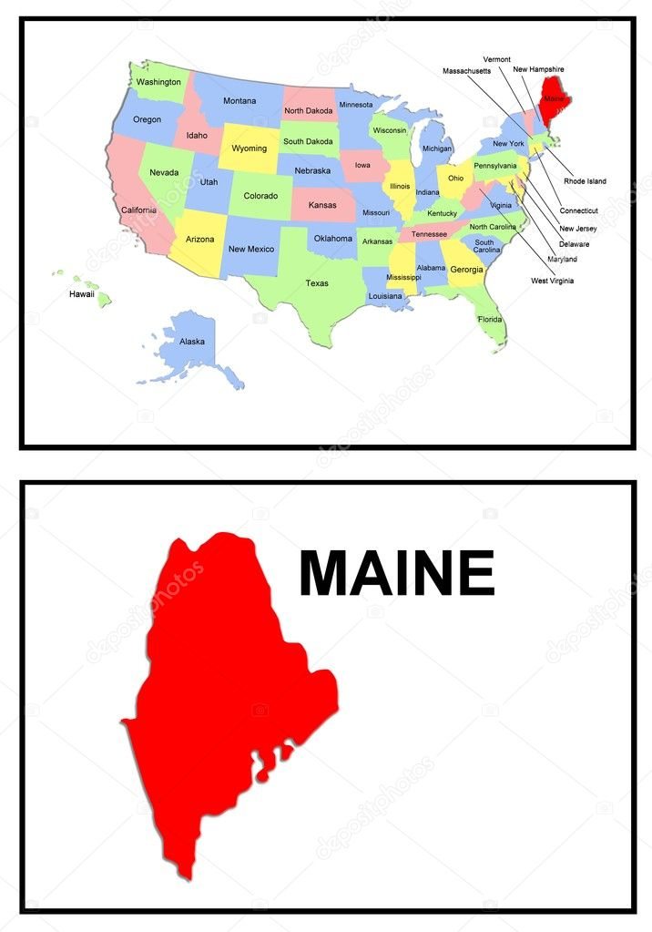 USA State Map Maine Stock Photo Pdesign - Maine usa map
