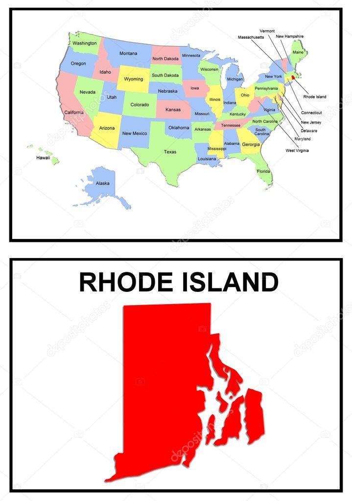 Us-bundesstaaten karte rhode island — Stockfoto #1768716
