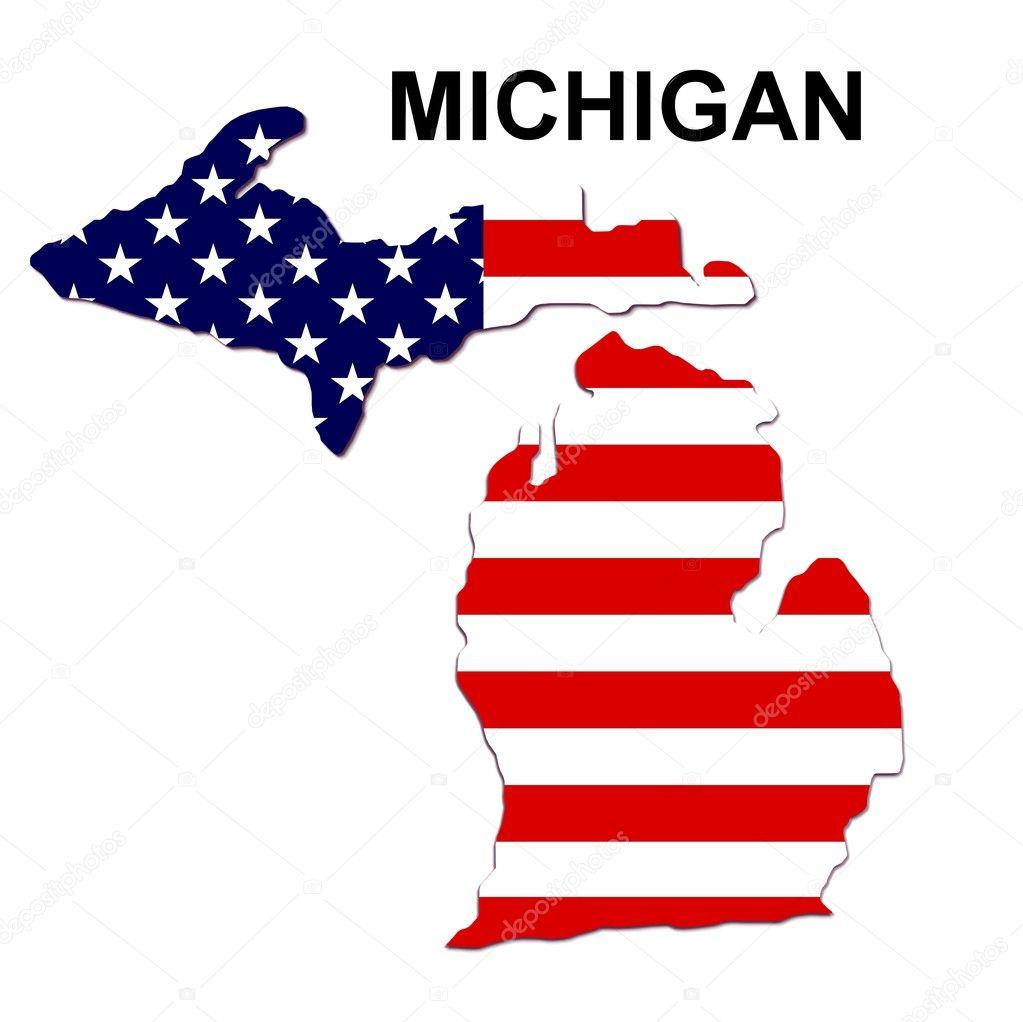 Mapa De Estado De Estados Unidos Michigan Foto De Stock - Mapa de michigan