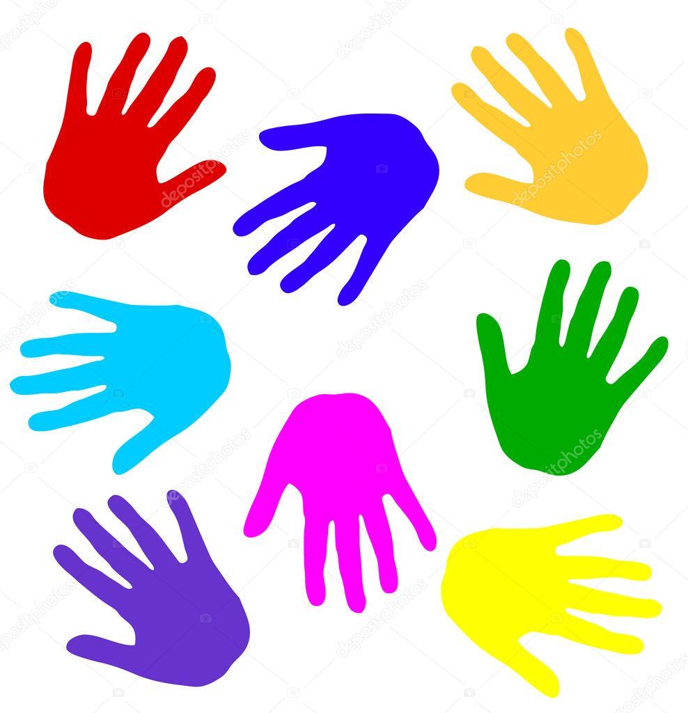 Immagini: impronta mano vector | impronte di mani colorate ...
