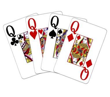 Poker Hand Quads Queens