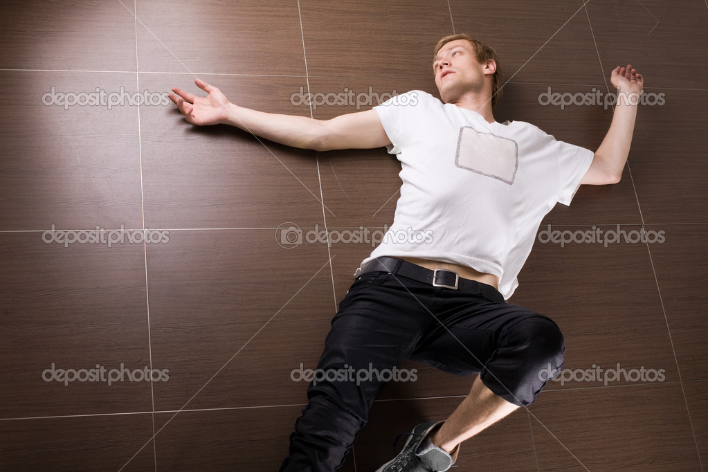 Laying on home floor — Stock Photo