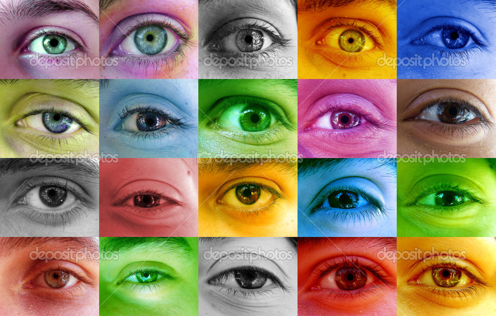 Multi color human eyes