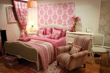 Pink woman interior bedroom