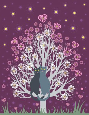 Greeting Card with two in love cats on a spring, flowering tree stock vector