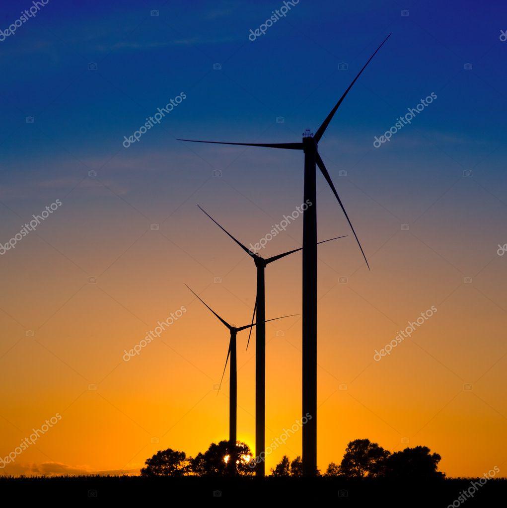 Wind turbines silhouettes